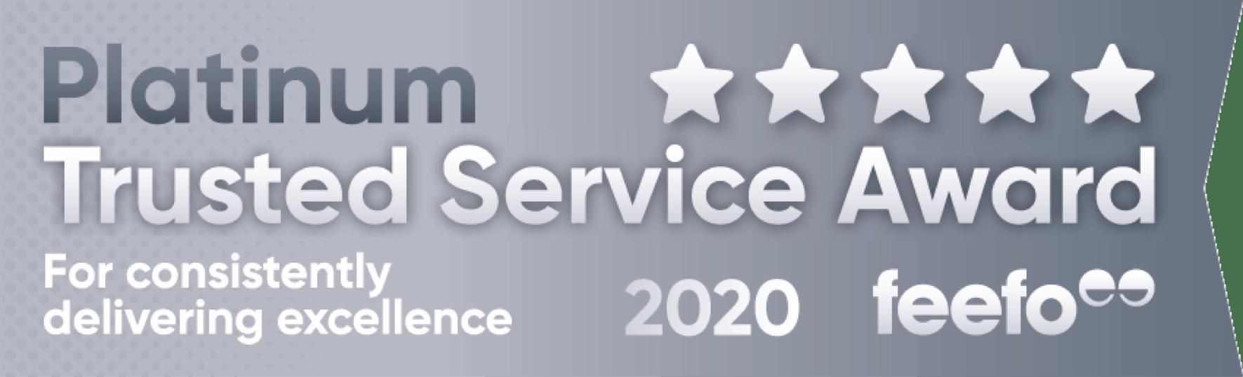 Platinum Trusted Service Award 2020 feefo award logo