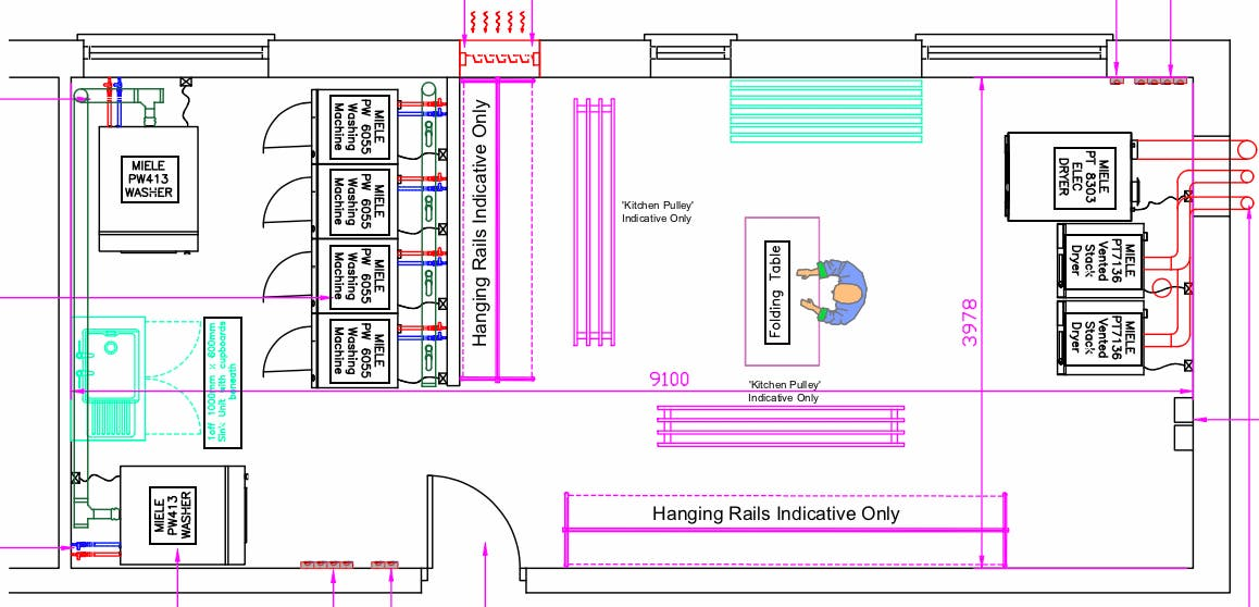 Sample CAD illustration of a Forbes Professional machine layout plan