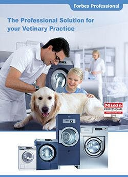Forbes Professional logo top right hand corner, then a dog on vets table, with vet examining dog and child to the right stroking dog. There are Miele washers and dryers at the bottom of the photo.